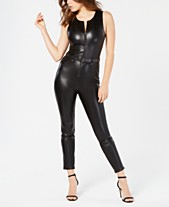 bc881ae2d010 GUESS Sandra Belted Faux-Leather Jumpsuit