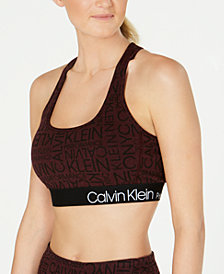 Calvin Klein Performance Logo-Print Racerback Low-Impact Sports Bra