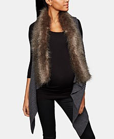 Faux-Fur Trim Maternity Vest