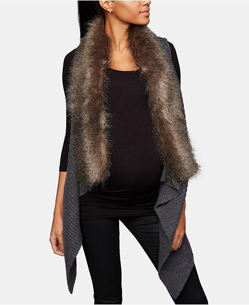 Luxe Essentials Faux-Fur Trim Maternity Vest