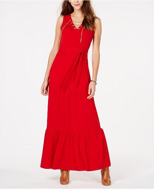 465ef84f54e Michael Kors Chain Lace-Up Maxi Dress