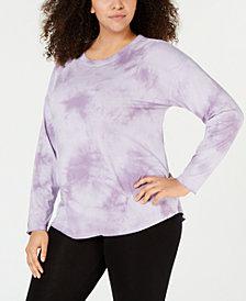 Calvin Klein Performance Plus Size Tie-Dyed Drop-Shoulder T-Shirt