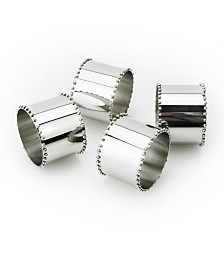Classic Touch Nickel Napkin rings with Beaded Design