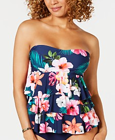 Island Escape Ohana Printed Tiered Bandini Tankini Top, Created for Macy's