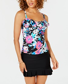 Island Escape Swim Society Printed Tahiti Ruffled Tankini Top & Swim Skirt, Created for Macy's
