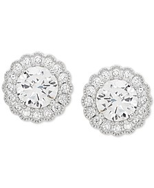 Swarovski Zirconia Halo Stud Earrings in Stainless Steel