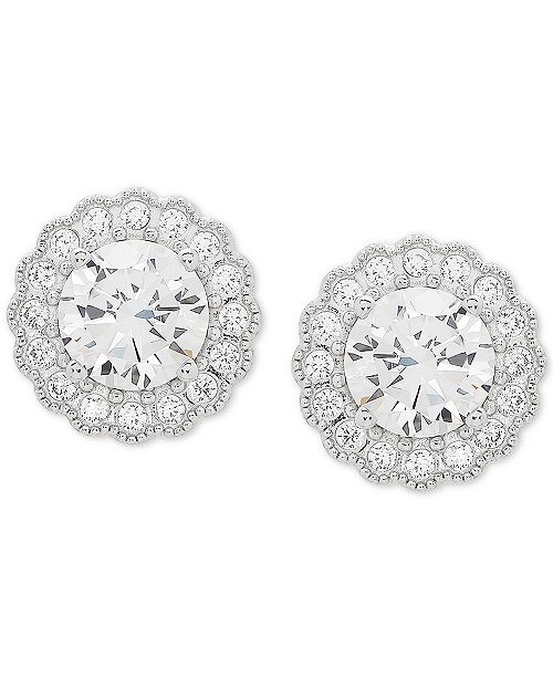 Arabella Swarovski Zirconia Halo Stud Earrings in Stainless Steel