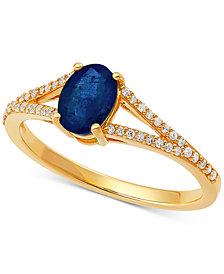 Sapphire (1 ct. t.w.) & Diamond (1/8 ct. t.w.) Ring in 10k Gold