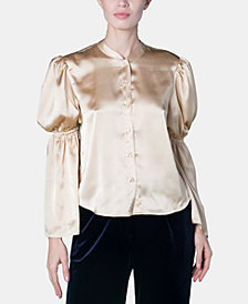Brittany Xavier x INSPR Satin Mandarin Collar Top, Created for Macy's