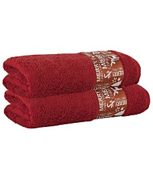 Enchante Home Merry Christmas Embellished 2-Pc. Bath Towel Set