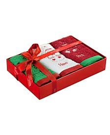 His & Hers Christmas 3-Pc. Washcloth Set