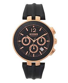 Versus Men's Logo Chronograph Black Leather Strap Watch 44mm