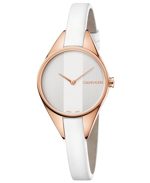 Calvin Klein Women's Swiss Rebel White Leather Strap Watch 29mm