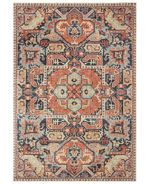 "Oriental Weavers Pandora 49S Blue/Orange 6'7"" x 9'6"" Area Rug"