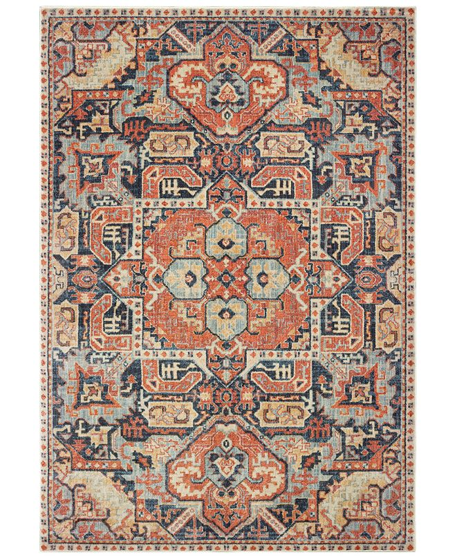 "Oriental Weavers Pandora 49S Blue/Orange 5'3"" x 7'6"" Area Rug"