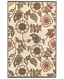 "Riviera 7630 Floral Vine 1'11"" x 7'6"" Indoor/Outdoor Runner Area Rug"