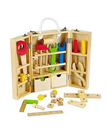 Wood Carpenter's Tool Box with Tools