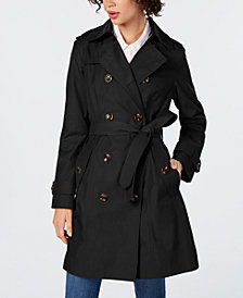 London Fog Double-Breasted Hooded Water-Repellent Trench Coat