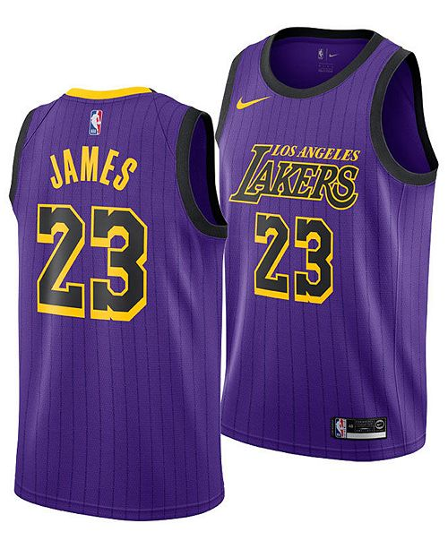 6346bd92b91 ... Nike LeBron James Los Angeles Lakers City Edition Swingman Jersey 2018,  Big Boys (8 ...