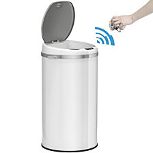 iTouchless 8 Gallon Round Sensor Trash Can with Deodorizer, Matte Whtie