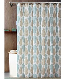 Beige & Blue Leaf Design Shower Curtain