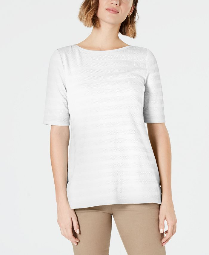 Charter Club - Texture-Striped Elbow-Sleeve Top