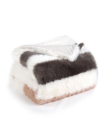 Sleeping Partners Super Soft Faux Fur Stripe Throw Blanket