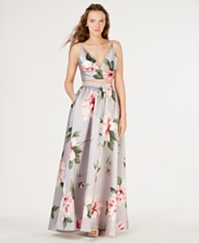 Speechless Juniors' 2-Pc. Floral Satin Crop Top & Skirt, Created for Macy's