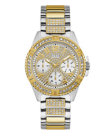 GUESS Women's  Two-tone Stainless Steel Bracelet Strap With Crystal Detail Watch 40MM, Created for Macy's