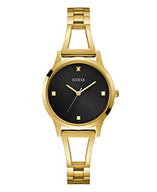 Guess Women's Gold Black Diamond Self-adjustable G-Link   Watch 25MM