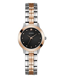 Women's  Two Tone Rose Gold Black Diamond Watch 30mm, Created for Macy's