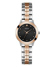 Guess Women's  Two Tone Rose Gold Black Diamond Watch 30mm, Created for Macy's