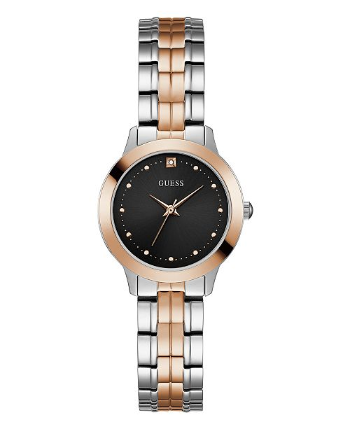 Women S Two Tone Rose Gold Black Diamond Watch 30mm Created For Macy S