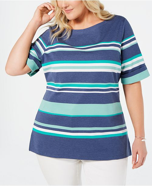 8b1e30219d9 Karen Scott Plus Size Striped Boat-Neck Top