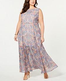 Plus Size Paisley-Print Sleeveless Dress, Created for Macy's
