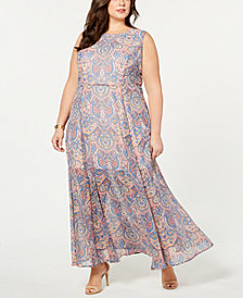 Tommy Hilfiger Plus Size Paisley-Print Sleeveless Dress, Created for Macy's
