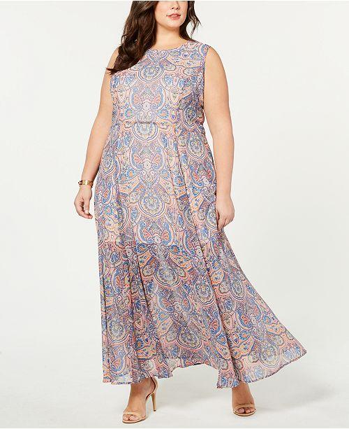 Plus Size Paisley-Print Sleeveless Dress, Created for Macy\'s