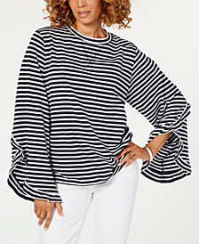 Tommy Hilfiger Plus Size Striped Ruffle-Sleeve Top, Created for Macy's