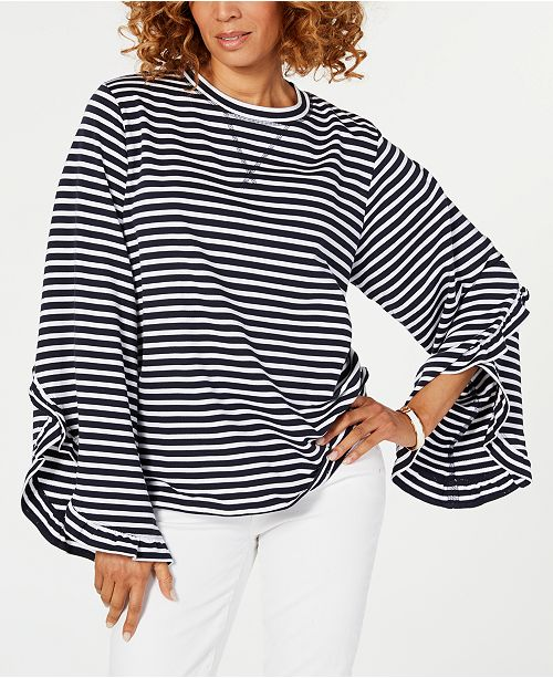 60a2f4028 ... Tommy Hilfiger Plus Size Striped Ruffle-Sleeve Top