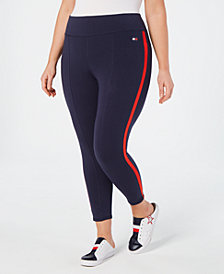 Tommy Hilfiger Sport Plus Size Striped High-Rise Leggings
