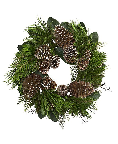 """Nearly Natural 28"""" Pine Cone & Pine Artificial Wreath"""