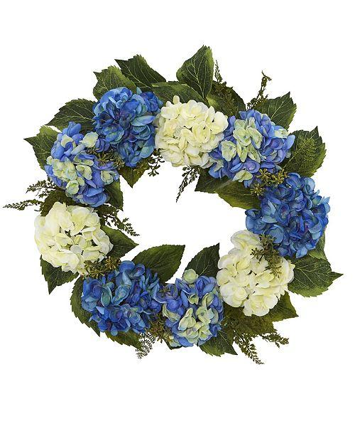 "Nearly Natural 24"" Hydrangea Blue & White Wreath"