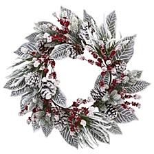 """24"""" Snowy Magnolia Berry Artificial Wreath"""