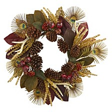"""27"""" Magnolia Leaf, Berry, Antler & Peacock Feather Artificial Wreath"""