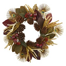 """Nearly Natural 27"""" Magnolia Leaf, Berry, Antler & Peacock Feather Artificial Wreath"""