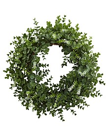 "18"" Eucalyptus Double Ring Wreath w/ Twig Base"