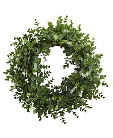 """Nearly Natural 18"""" Eucalyptus Double Ring Wreath w/ Twig Base"""