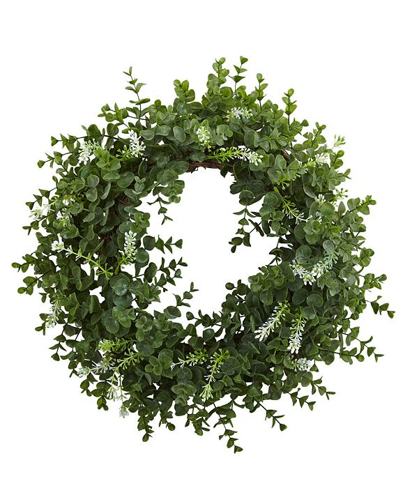 "Nearly Natural 18"" Eucalyptus Double Ring Wreath w/ Twig Base"