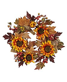 """24"""" Sunflower and Berry Wreath"""