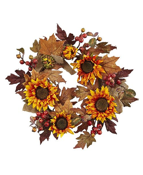 """Nearly Natural 24"""" Sunflower and Berry Wreath"""